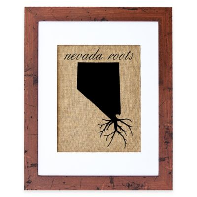Fiber and Water Nevada Roots Burlap Wall Art in Rustic Walnut Frame