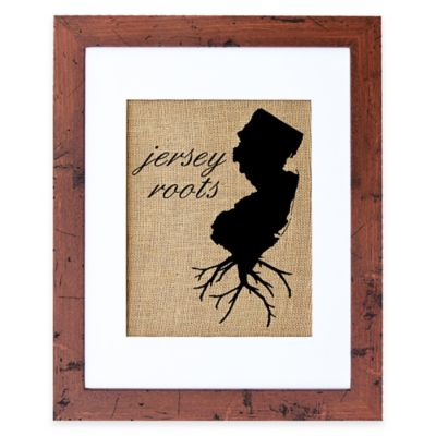 Fiber and Water New Jersey Roots Burlap Wall Art in Rustic Walnut Frame
