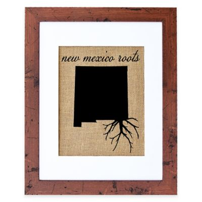 Fiber and Water New Mexico Roots Burlap Wall Art in Rustic Walnut Frame