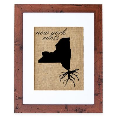 Fiber and Water New York Roots Burlap Wall Art in Rustic Walnut Frame
