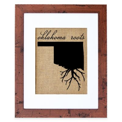 Fiber and Water Oklahoma Roots Burlap Wall Art in Rustic Walnut Frame