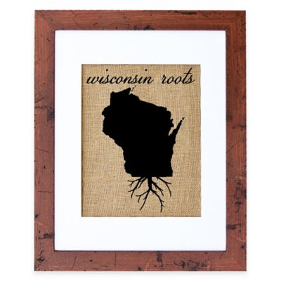 Fiber and Water Wisconsin Roots Burlap Wall Art in Rustic Walnut Frame