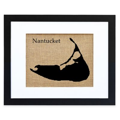 Fiber and Water Nantucket Burlap Wall Art with Black Frame