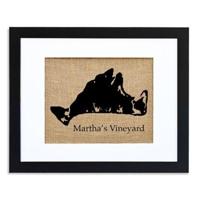 Martha's Vineyard Burlap Wall Art in Modern Black Frame