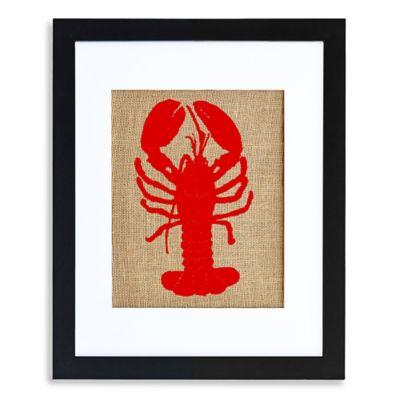 Lobster Burlap Wall Art in Modern Black Frame