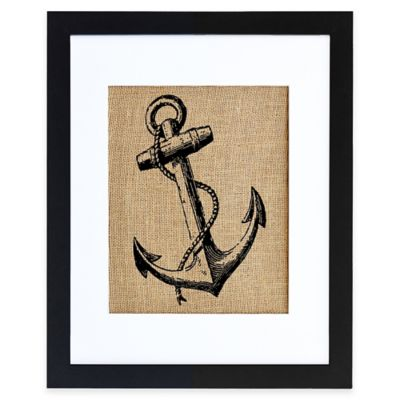 Vintage Anchor Burlap Wall Art in Modern Black Frame