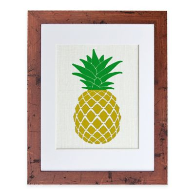 Golden Pineapple Burlap Wall Art in Rustic Walnut Frame