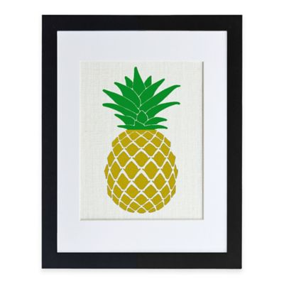 Golden Pineapple Burlap Wall Art in Modern Black Frame
