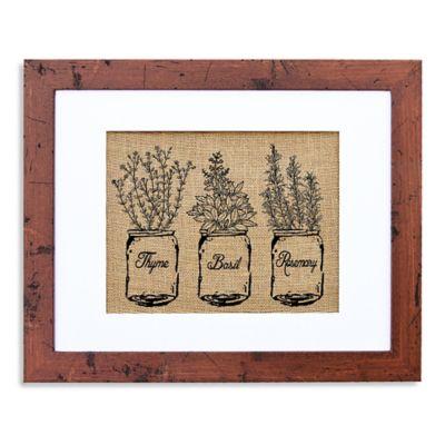 Kitchen Herbs Burlap Wall Art in Rustic Walnut Frame
