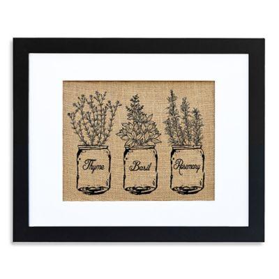 Kitchen Herbs Burlap Wall Art in Modern Black Frame