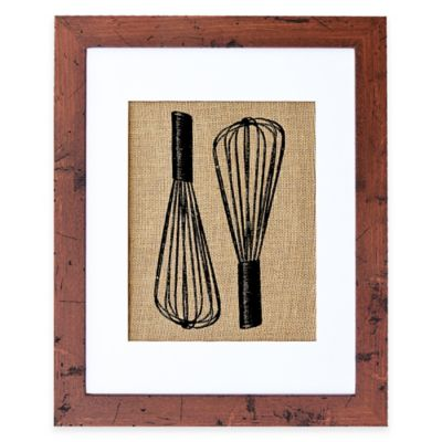 Baker's Whisks Burlap Wall Art in Rustic Walnut Frame