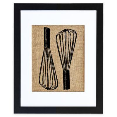 Baker's Whisks Burlap Wall Art in Modern Black Frame