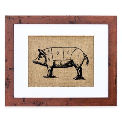Chef's Pig Burlap Wall Art in Rustic Walnut Frame