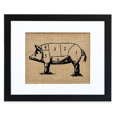 Chef's Pig Burlap Wall Art in Modern Black Frame