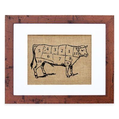 Chef's Cow Burlap Wall Art in Rustic Walnut Frame