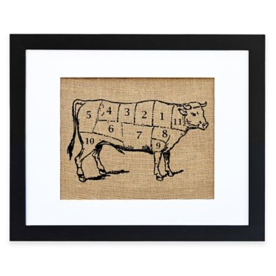 Chef's Cow Burlap Wall Art in Black Frame