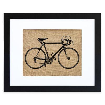 Vintage Bicycle Burlap Wall Art in Modern Black Frame