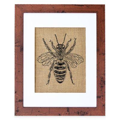 Honey Bee Burlap Wall Art in Rustic Walnut Frame