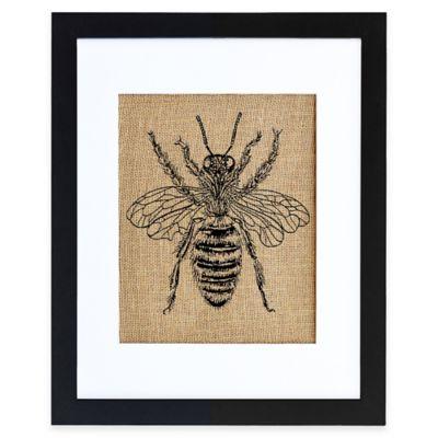 Honey Bee Burlap Wall Art in Modern Black Frame