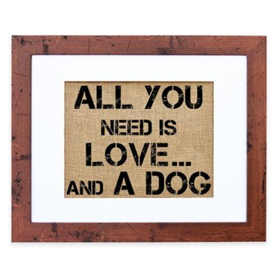 Love and a Dog Burlap Wall Art in Rustic Walnut Frame