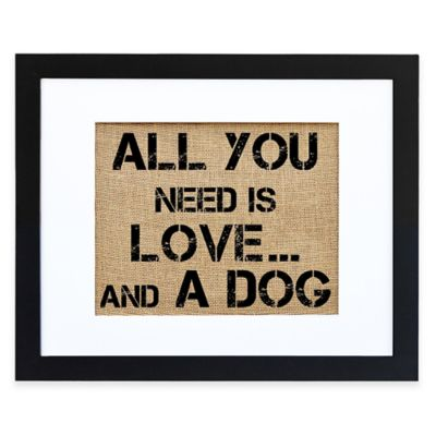 Love and a Dog Burlap Wall Art in Modern Black Frame