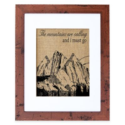 """""""Mountains Are Calling"""" Burlap Wall Art in Rustic Walnut Frame"""