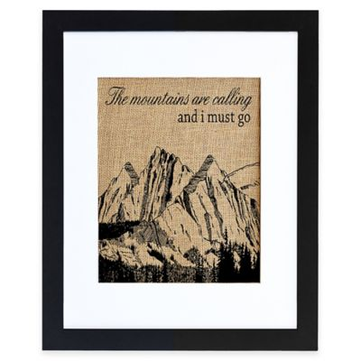 """""""Mountains Are Calling"""" Burlap Wall Art in Modern Black Frame"""
