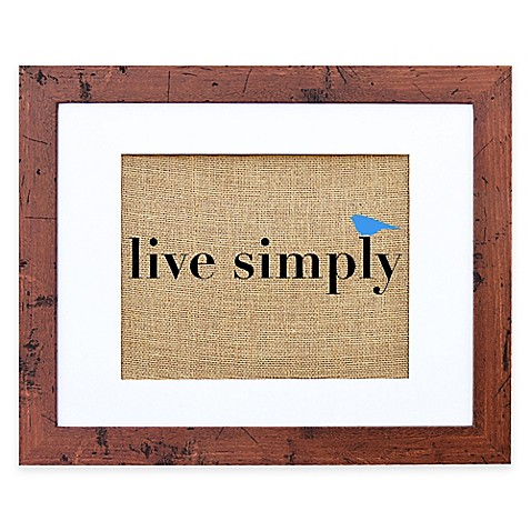 Buy live simply burlap wall art in rustic walnut frame for Live simply wall art