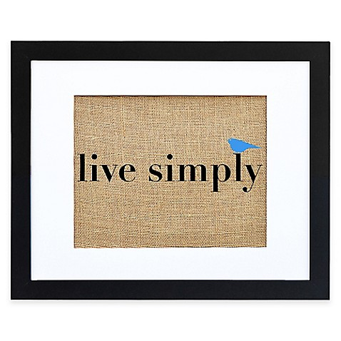 Buy live simply burlap wall art in modern black frame for Live simply wall art