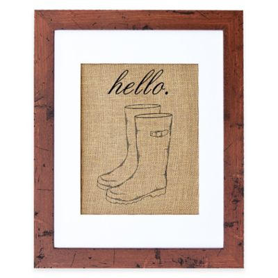 Hello Wellies Burlap Wall Art in Rustic Walnut Frame