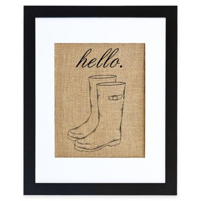 Hello Wellies Burlap Wall Art in Modern Black Frame