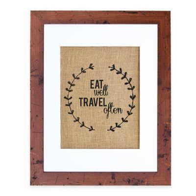 Eat Well Burlap Wall Art in Rustic Walnut Frame