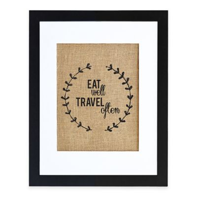 Eat Well Burlap Wall Art in Modern Black Frame