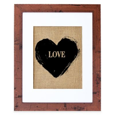 LOVE Burlap Wall Art in Rustic Walnut Frame