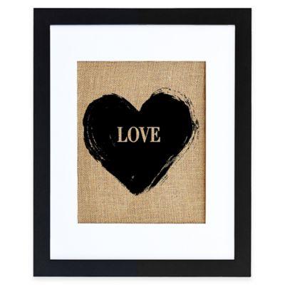 LOVE Burlap Wall Art in Modern Black Frame