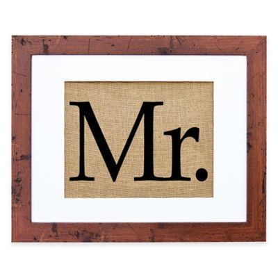 """Mr."" Burlap Wall Art in Rustic Walnut Frame"