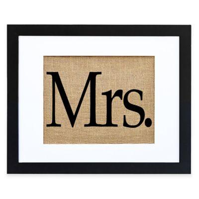 """""""Mrs."""" Burlap Wall Art in Modern Black Frame"""