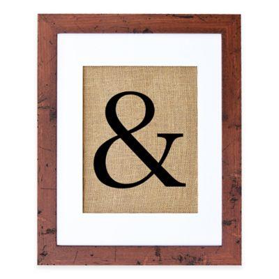 """&"" Burlap Wall Art in Rustic Walnut Frame"