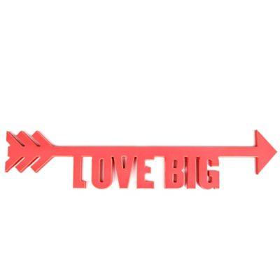 """Love Big"" Wooden Arrow Word Cutout Wall Art in Red"