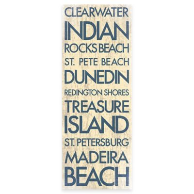 Clearwater Florida Landmark Typography Canvas Wall Art