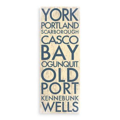 Maine Landmark Typography Canvas Wall Art