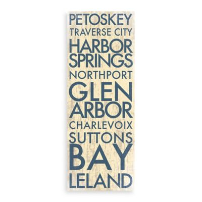 Michigan Landmark Typography Canvas Wall Art