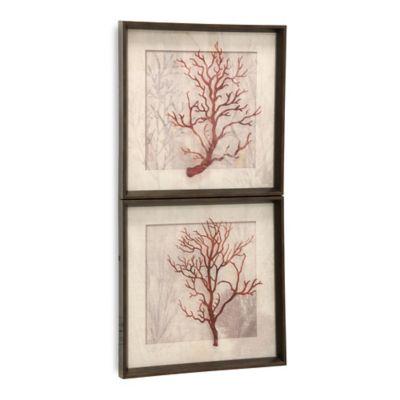 StyleCraft Red Corals Linen Framed Wall Art (Set of 2)