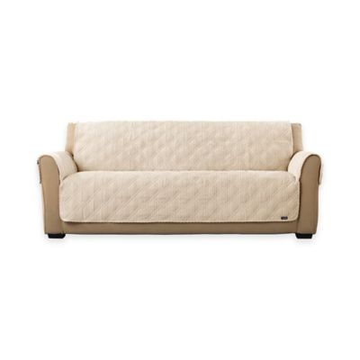 Sure Fit® Wide Wale Corduroy Sofa Cover in Cream