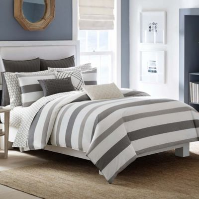 Nautica® Chatfield King Duvet Cover Set in Taupe/Black