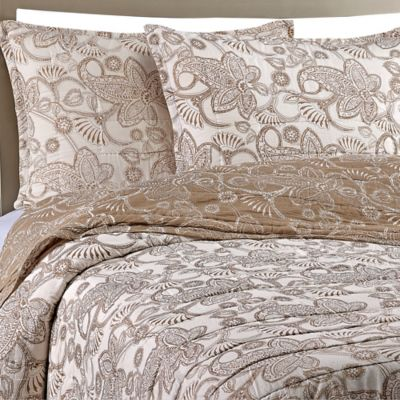 Gaya Cotton Voile Twin Quilt Set in Taupe