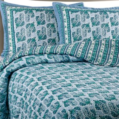 Raya Cotton Voile Twin Quilt Set in Aqua