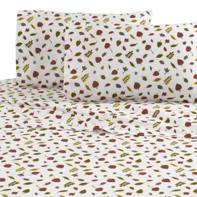Vellux Fallen Leaves Flannel Twin Sheet Set