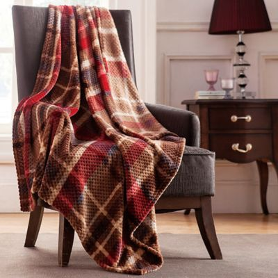 Boulder Throw in Plaid/Red (Set of 2)