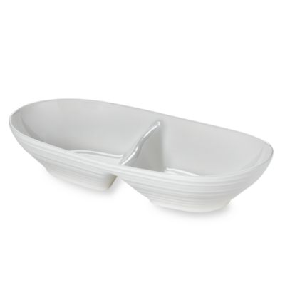 Swirl White 12 1/4-Inch Divided Dish